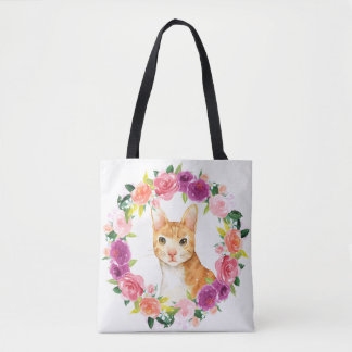 Orange Tabby Cat with Floral Wreath Tote Bag