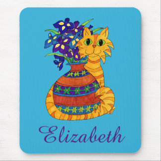 Orange Tabby Cat with Vase of Irises Custom Name Mouse Mat
