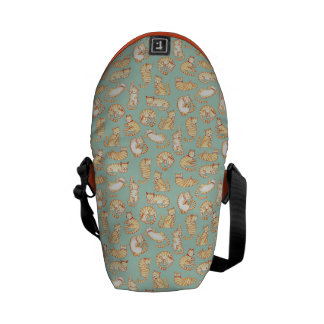 Orange Tabby Cats Illustrated Pattern Courier Bag