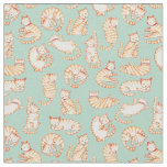 Orange Tabby Cats Illustrated Pattern Fabric