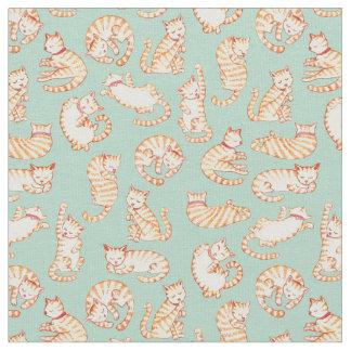 Orange Tabby Cats Illustrated Pattern Fabric