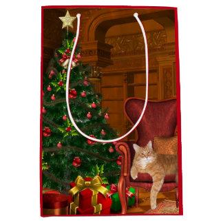 Orange tabby Christmas Medium Gift Bag