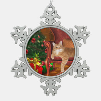 Orange tabby Christmas Snowflake Pewter Christmas Ornament