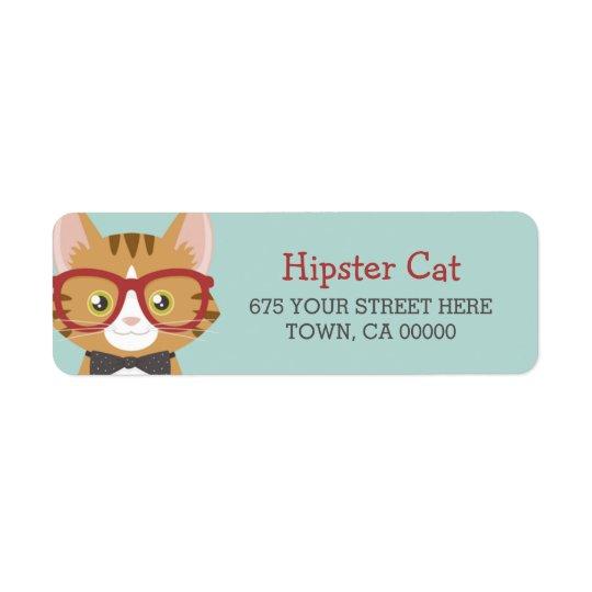 Orange Tabby Hipster Cat Kids Return Address Label