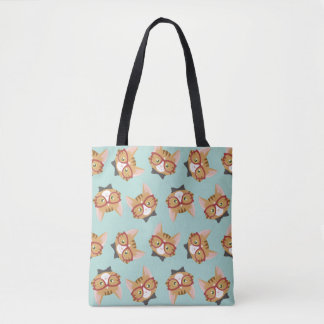 Orange Tabby Hipster Cat Pattern Tote Bag