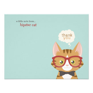 Orange Tabby Hipster Cat Thank You Invitations