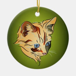 Orange Tabby Kitten with Blue Eyes Christmas Christmas Ornament