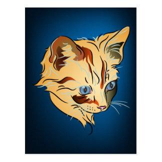 Orange Tabby Kitten with Blue Eyes on Blue Postcard