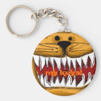 Orange Tabby Kitty Humorous Sharp Teeth Cat Key Basic Round Button Key Ring