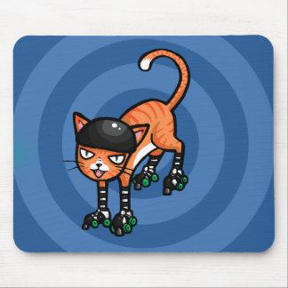 Orange tabby on rollerskates mouse pad