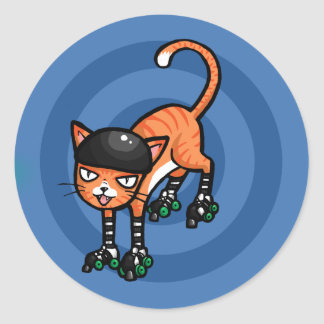 Orange tabby on rollerskates round sticker