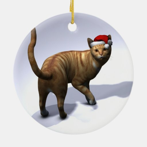 Orange Tabby Santa Christmas Tree Ornament