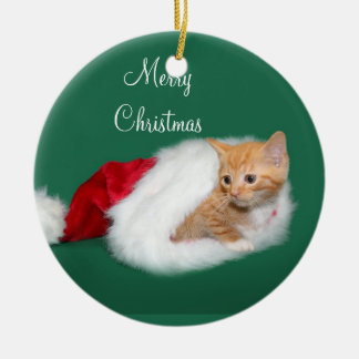 Orange tabby Santa hat Christmas Ornament
