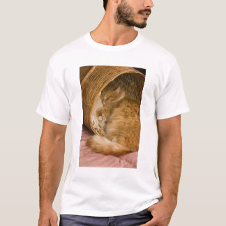 Orange tabby sleeping in hamper T-Shirt