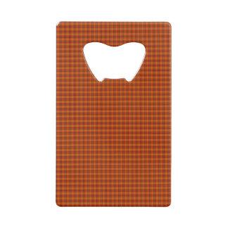 Orange Tartan Credit Card Bottle Opener