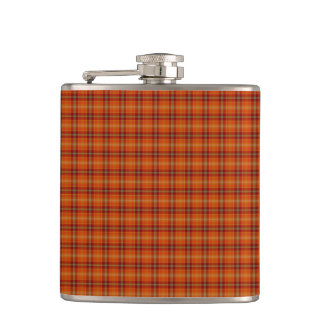 Orange Tartan Vinyl Wrapped Flask