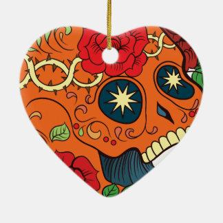 Orange Tattoo Day of Dead Sugar Skull Red Roses Ceramic Heart Decoration