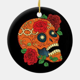 Orange Tattoo Day of Dead Sugar Skull Red Roses Round Ceramic Decoration