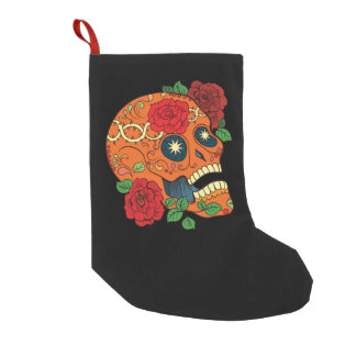 Orange Tattoo Day of Dead Sugar Skull Red Roses Small Christmas Stocking