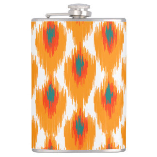 Orange Teal Abstract Tribal Ikat Diamond Pattern Hip Flask