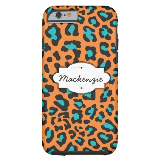 Orange/Teal Animal Print Custom iPhone 6 Case