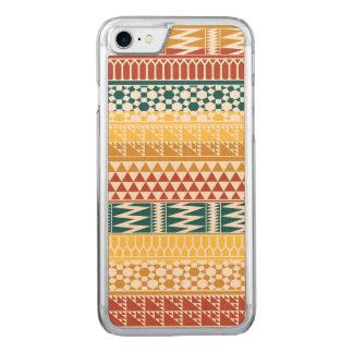 Orange Teal Geometric Aztec Tribal Print Pattern Carved iPhone 8/7 Case