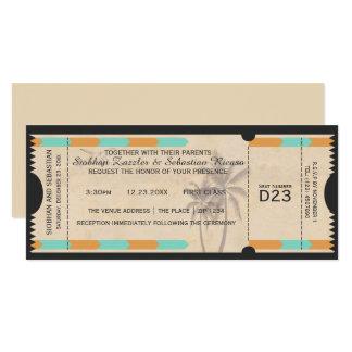 Orange Teal Palm Tree Boarding Pass Wedding Ticket 10 Cm X 24 Cm Invitation Card
