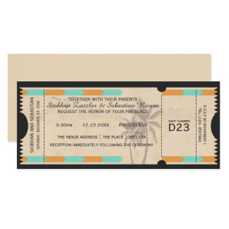 Orange Teal Palm Tree Boarding Pass Wedding Ticket Card