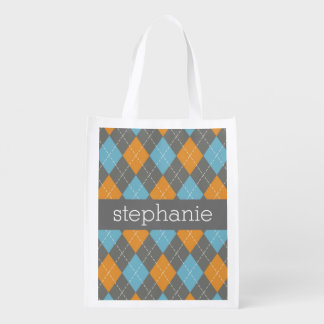 Orange & Teal Preppy Argyle Plaid Pattern Reusable Grocery Bag