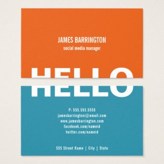 ORANGE TEAL SPLIT HELLO | BUSINESS CARDS