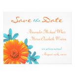 Orange & Teal Summer Flower Save the Date Custom Invite