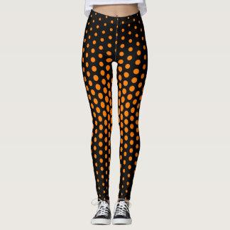 Orange Techno Dot Pattern Leggings