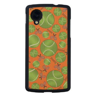 Orange tennis balls rackets and nets carved® maple nexus 5 case