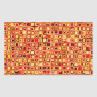 Orange 'Terracotta' Textured Mosaic Tiles Pattern Rectangular Sticker