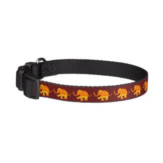 Orange Textured Cute Baby Elephants on Brown Dog Collars
