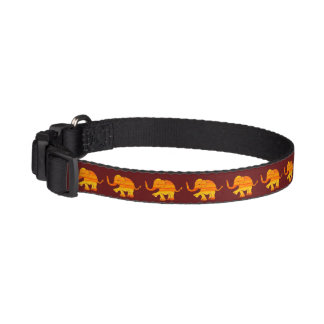 Orange Textured Cute Baby Elephants on Brown Pet Collar