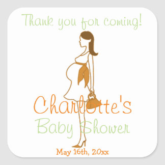 Orange Thank You For Coming Silhouette Baby Shower Square Stickers