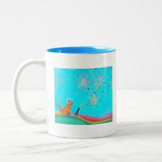 Orange the Cat with fireworks Two-Tone Coffee Mug
