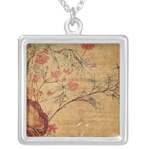 Orange Three Magpies and Spring Flowers, Pien Wen- Personalized Necklace