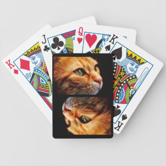 Orange Tiger Cat with Green Eyes Bicycle Playing Cards