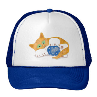 Orange Tiger Kitten plays with a Blue Whiffle Ball Cap