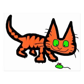 Orange Tiger Kitty Cat Playing Postcards