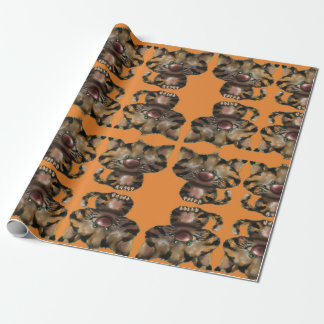 Orange tiger kitty wrapping paper