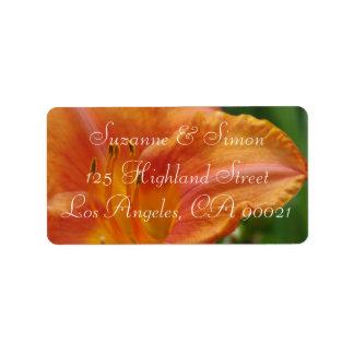 Orange Tiger Lily Address Label