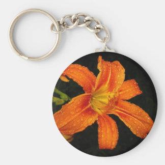 Orange Tiger Lily Flowers Basic Round Button Key Ring