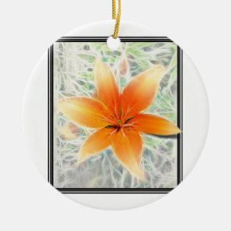 Orange Tiger Lily Round Ceramic Decoration