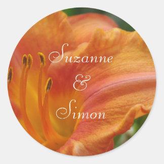 Orange Tiger Lily Round Sticker