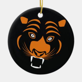 Orange Tiger Round Ceramic Decoration