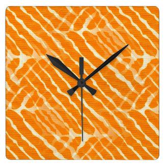Orange Tiger Stripes Canvas Look Wallclock