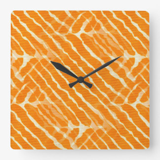 Orange Tiger Stripes Canvas Look Square Wall Clock